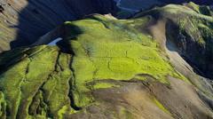Aerial wilderness vegetation volcanic rock Landmannalaugar Iceland Stock Footage