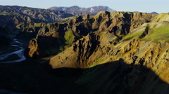 Aerial glacial volcanic landscape mineral rock Landmannalaugar Iceland - stock footage
