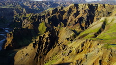 Aerial volcanic colorful mountains geology minerals Landmannalaugar Iceland Stock Footage