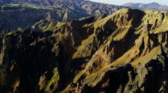 Aerial colourful highland volcanic landscape National Park Iceland - stock footage
