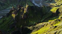 Aerial Landmannalaugar Iceland volcanic peaks basalt lava river deltas - stock footage