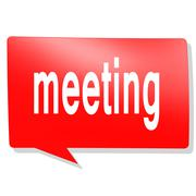 Meeting word on red speech bubble Stock Illustration