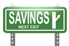 Savings green sign board isolated Stock Illustration
