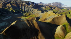 Aerial colourful highland volcanic landscape wildlife National Park Iceland - stock footage