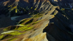 Stock Video Footage of Aerial volcanic landscape colorful  geology Landmannalaugar Iceland