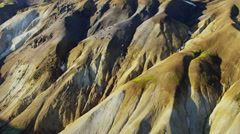 Aerial volcano landscape geology environment mineral rock National Park Iceland - stock footage