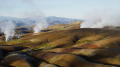 Aerial mountain mineral colors steam volcanic Landmannalaugar Iceland - stock footage