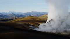 Aerial mineral colours steam venting volcanic thermal Iceland - stock footage