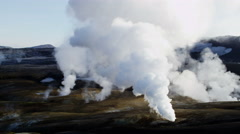 Aerial steam venting volcanic active area thermal energy Landmannalaugar - stock footage