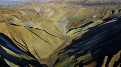 Aerial colorful mountain minerals   volcanic active region Landmannalaugar - stock footage