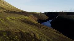 Aerial Landmannalaugar basalt volcanic rock volcano thermal energy Iceland - stock footage