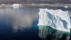 Aerial Disko Bay Greenland Floating Glacial Ice Mass Frozen Travel Destination - stock footage