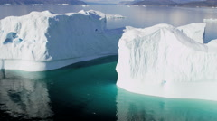 Aerial Remote Meltwater Warming Glaciers Frozen Mass Disko Bay Greenland - stock footage