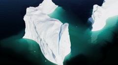 Aerial Remote Meltwater Warming Glaciers Frozen Mass Disko Bay Greenland - stock footage