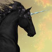 Black Friesian Unicorn - stock illustration