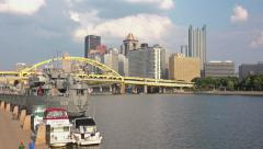 LST-325 Docked in Pittsburgh Stock Footage