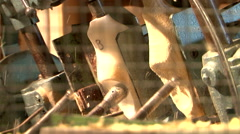 Making traditional Dutch clogs at wooden shoe factory Stock Footage