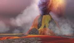 Volcanic Lands Stock Illustration