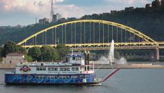 Gateway Clipper Riverboat Carries Tourists Past Point State Park - stock footage