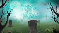Graveyard Trick or Treat in the Fog Stock Footage