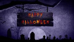 Happy Halloween Flaming Sign - stock footage