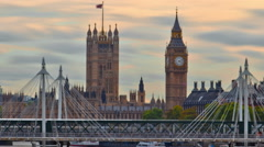 Time-lapse of Big Ben and the Hungerford bridge in London. Cropped. Stock Footage