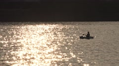 Evening Kayaker in Pittsburgh Stock Footage