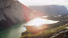 Aerial Greenland Rising Climate Global Sea Temperature Rising Valley Meltwater - stock footage