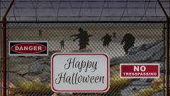 Beware of Zombies Happy Halloween Stock Footage