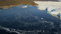 Aerial Greenland Arctic Ice Floes Global Warming Damage Rising Sea Geography - stock footage