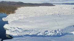 Aerial Melting Arctic Icecap Glacial Frozen Water Disko Bay Greenland - stock footage