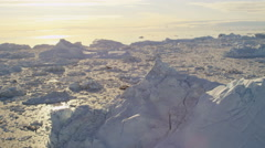 Aerial Eqi Glacier Greenland Floating Glacial Ice Mass Frozen Travel Destination - stock footage