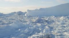 Aerial Climate Greenland Ice Floes Eqi Glacier Rising Temperatures Remote - stock footage