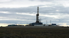 Oil rig at an oil field in North Russia in the summer Stock Footage