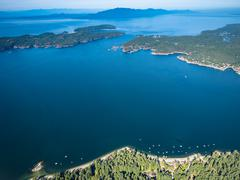 Aerial view of Thormanby Island and Smuggler Cove BC Canada Stock Photos