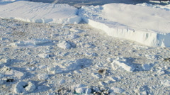 Aerial Ilulissat Icefjord Greenland Floating Glacial Ice Mass Frozen Travel Stock Footage