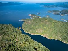 Aerial view of Sunshine Coast Nelson Island BC Canada - stock photo