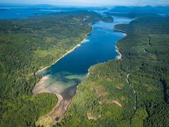 Aerial view of Sunshine Coast, Okeover Arm  BC Canada - stock photo
