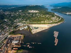Aerial view of industrial zone Pory Moody BC Canada - stock photo