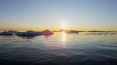 Ilulissat Icefjord sunset Disko Bay UNESCO site arctic glacier Stock Footage