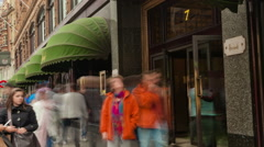 Panning shot of Harrods time-lapse circa October 2011 in London - stock footage