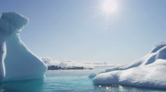 Icefjord iceberg climate change floating glacial Disko Bay - stock footage