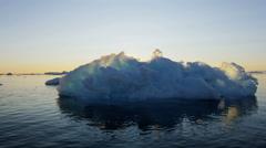 Ilulissat Icefjord Disko Bay sunset UNESCO site arctic glacier Stock Footage