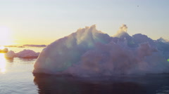 World Heritage Site sunset Disko Bay Greenland Global warming - stock footage