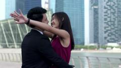 Asian girl happy to meet her loved one Stock Footage