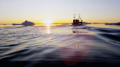 Ilulissat Icefjord Disko Bay fishing trawler UNESCO site - stock footage
