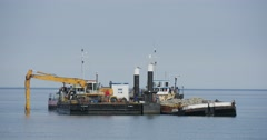Two Barges At The Sea Barge With Excavator People On The Board Of The Barge Stock Footage