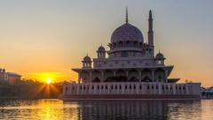 Time lapse HD Footage of Beautiful Sunrise At Putra Mosque, Putrajaya Stock Footage