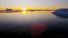 World Heritage Site Disko Bay sunset Greenland Global - stock footage