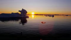 Ilulissat sunset Icefjord Disko Bay UNESCO site arctic glacier Stock Footage